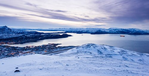 View of mountains and sea of Hammerfest, Norway