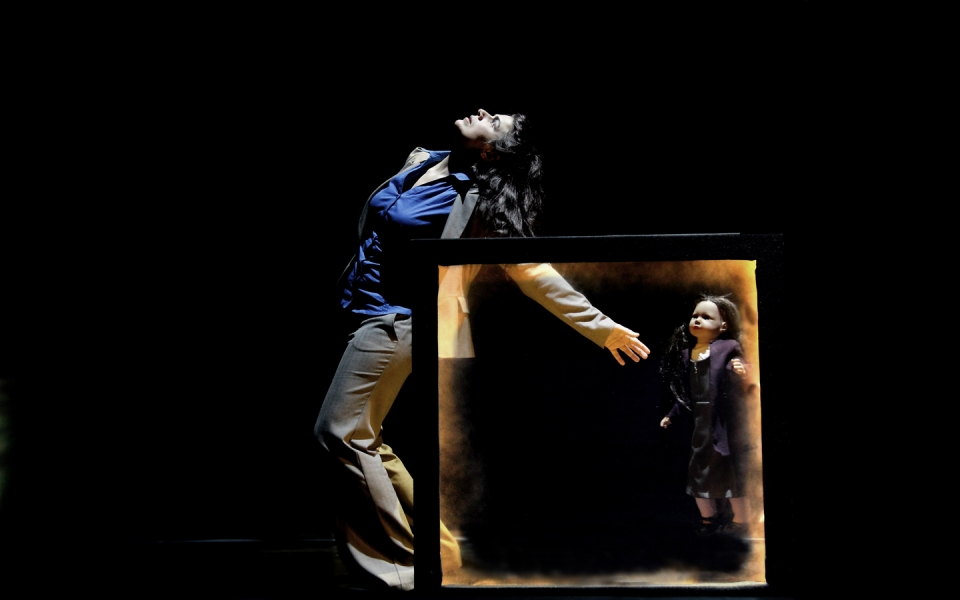 Photo of Georgina Roberts in Missing by physical theatre company Gecko
