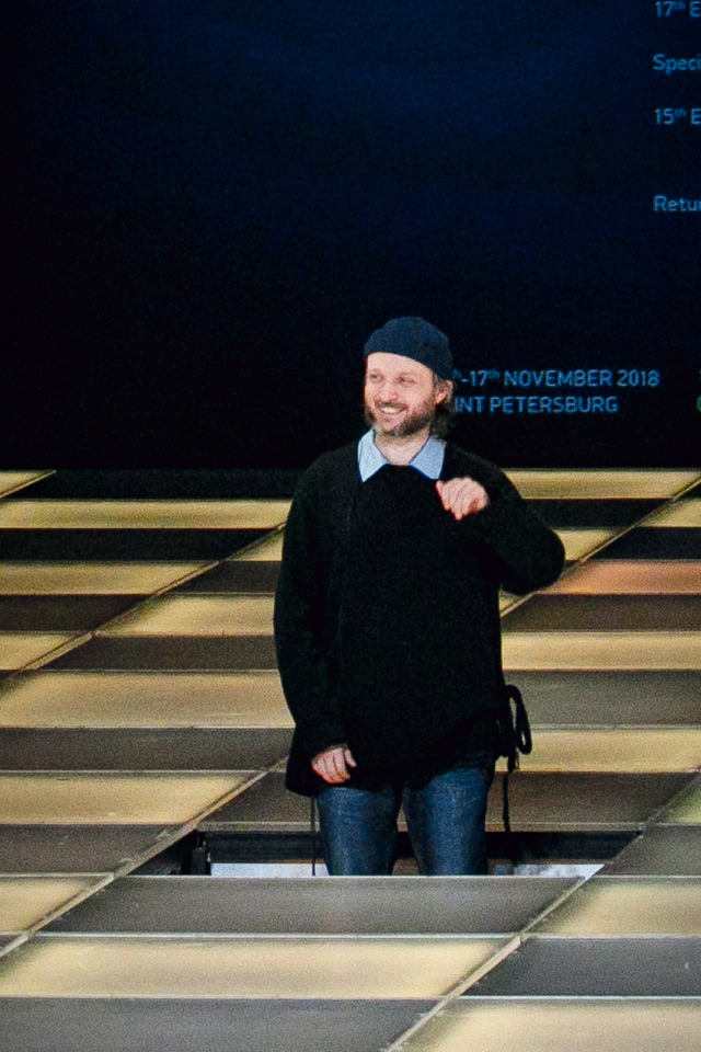 Sidi Larbi Cherkaoui arises from below stage at the European Theatre Prize 2018, St Petersburg