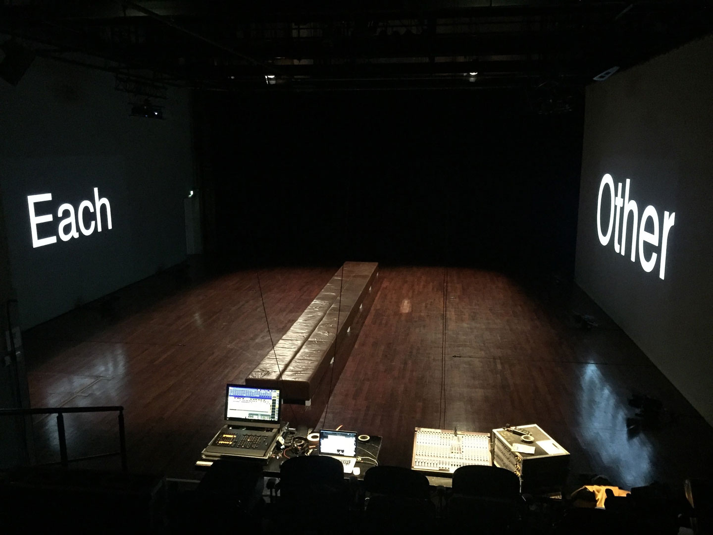 The set for Turning Backs (devised by Lígia Soares, Rita Vilhena and Diogo Alvim) waiting for the performers – that is, us – to enter