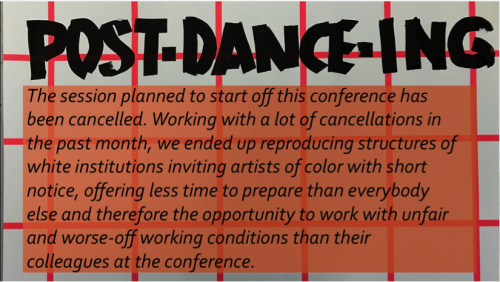 Cancellation notice of the first session at POST-DANCE-ING 2019.