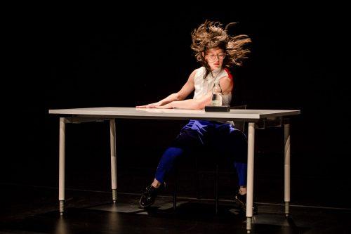 Anna Biczók's performance lecture Precedents to a potential future. Photo © Katarzina Chmura