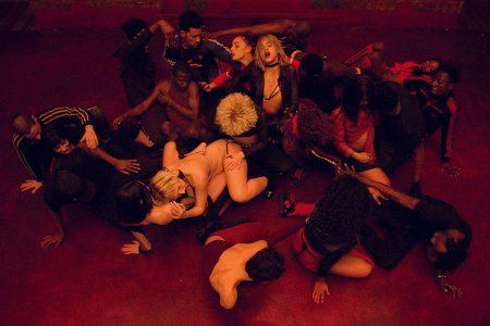 Shot of opening dance scene of Gaspar Noé's Climax