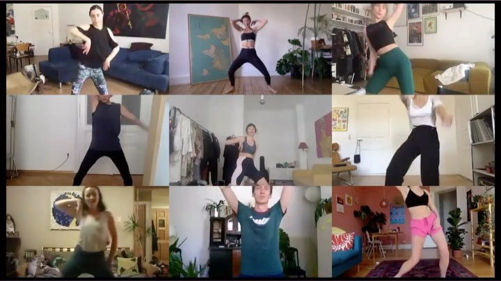 People at home take an online class with Berlin's Therapy of Dance