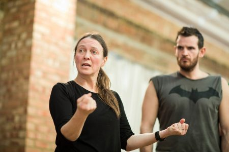 Movement director Ayse Tashkiran rehearsing Maria Aberg's 2018 production of The Duchess of Malfi, Royal Shakespeare Company. Photo © Helen Maybanks/RSC