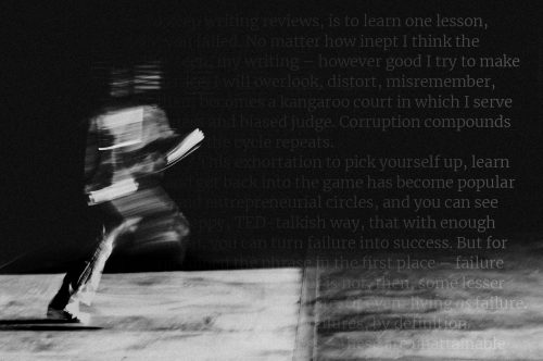 black and white figure of running man with text overlay