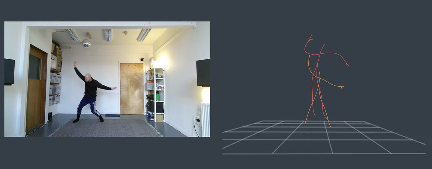 Screen capture from Sonified Body, created by Tim Murray-Browne and Pangiotis Tigas, showing split screen: on left, a man stands with wide stance and wide arms in his living room. On the right, a virtual stick figure echoes it in a geometric grid