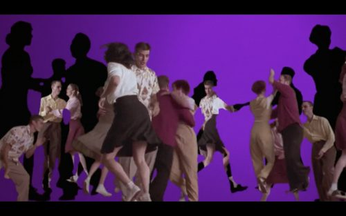 Jitterbugging couples and dark shadows against a purple background, the opening scene of David Lynch's Mulholland Drive