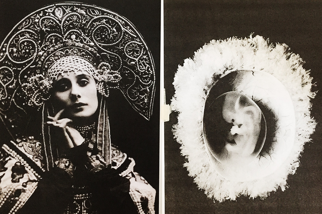 Anna Pavlova in a Russian costume and an embryo. Collage from Ilya Belenkov`s ideokinesis laboratory 'Tselom', 2018